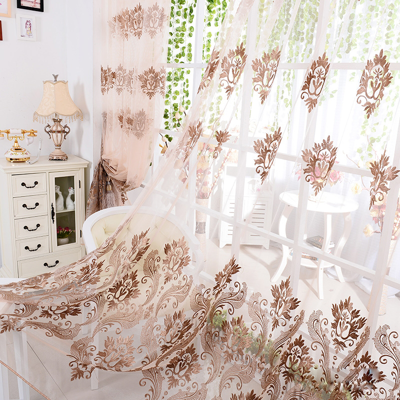 Embroidered Organza Brown Sheer Curtains Modern Apartment Decor