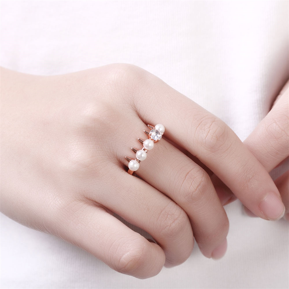 Anel Imitation Pearl Zircon Rose Gold 585 Plated Rings For Women ...