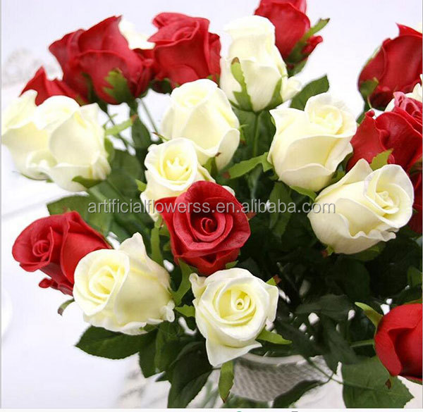 Wholesale real touch plastic rose decorative artificial rose flowers