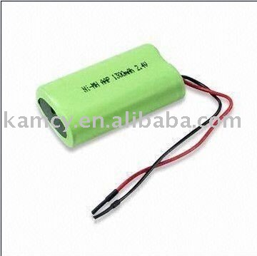2S1P 2.4V NIMH AA 1300mAh cylindrical battery pack for cordless phone
