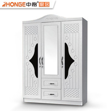 Iraq MDF cloth storage wardrobe 3 door almirah wooden cupboard designs of bedroom
