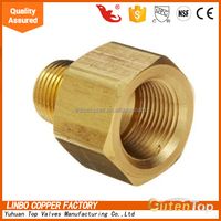 "LB-GutenTop Brass Pipe and Welding Fitting, Threaded Reducer Adapter, 3/4"" NPTF Female x 1/2"" NPT Male welding connector"