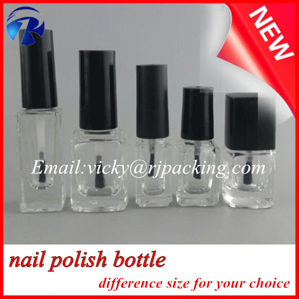 2016 trendy design custom made uv gel 12ml empty glass nail polish bottles with cap brush
