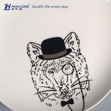 2016 round porcelain plates / ceramic flat plate / dishes with leopard cartoon printing