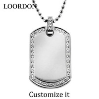 LOORDON Stainless Steel White Crystals Necklace Pendant with Chain Dog Tag