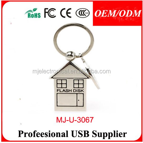 New metal Genuine key chain house usb 2.0 memory stick pen thumbdrive 4GB/8GB/16GB/32GB