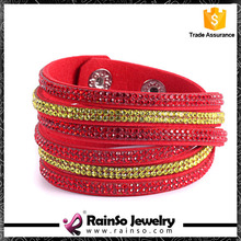 Spain Flag Bling Crystal Yellow Red Wrap Crystal Bracelet & Bangles
