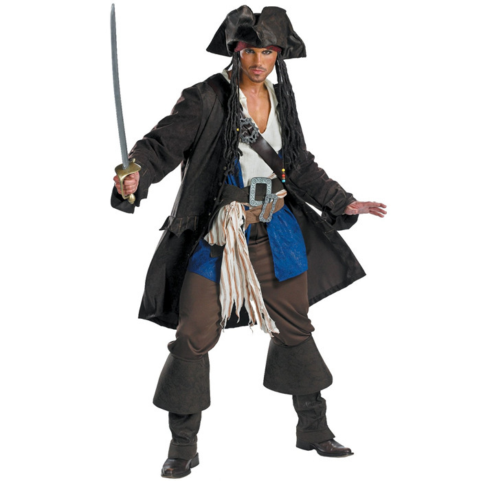 Custom Made Adult Jack Sparrow Cosplay Costume From Pirates of the Caribbean