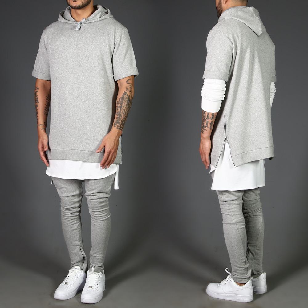 Men's Short Sleeve Hoodie Pullover Hoodies Sweatshirt Plus Size ...