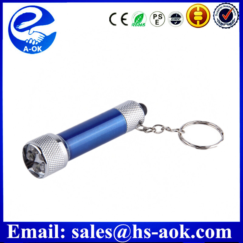 Portable 5 LED Mini Flashlight Light Torch Aluminum Keychain KeyRing Chain Top Quality