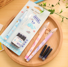 student stationery fountain pen with 1 + 4ink sac pen in set