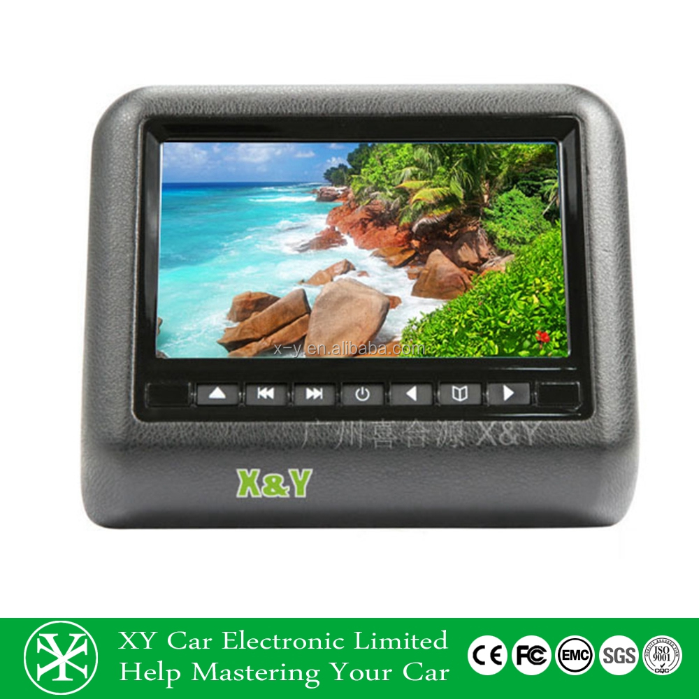 Hot selling 9inch TFT LCD HDMI optional car headrest monitor with dvd player and av in (XY-7089)