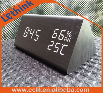 High quality Humidity temperature display table PVC skin wooden LED digital alarm clock