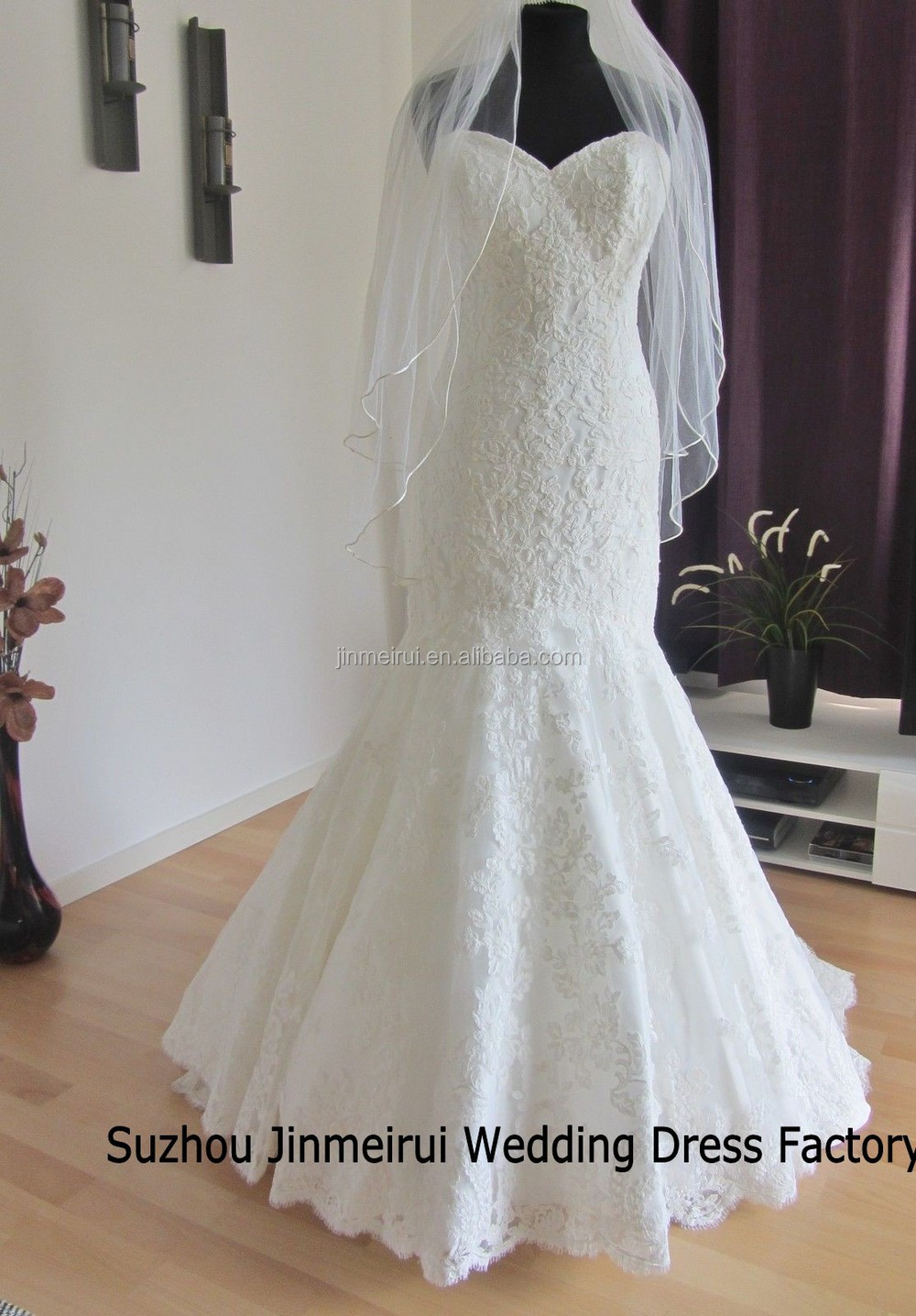 Real Sample Wedding Dress Graceful Mermaid Lace Wedding Dresses 2016 Zippered Back Buttons Cheap Wedding Gown