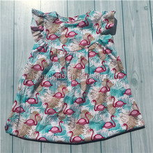 Flutter sleeve flamingo girls summer dresses wholesale little girls beach smocked dresses karachi dresses for girls