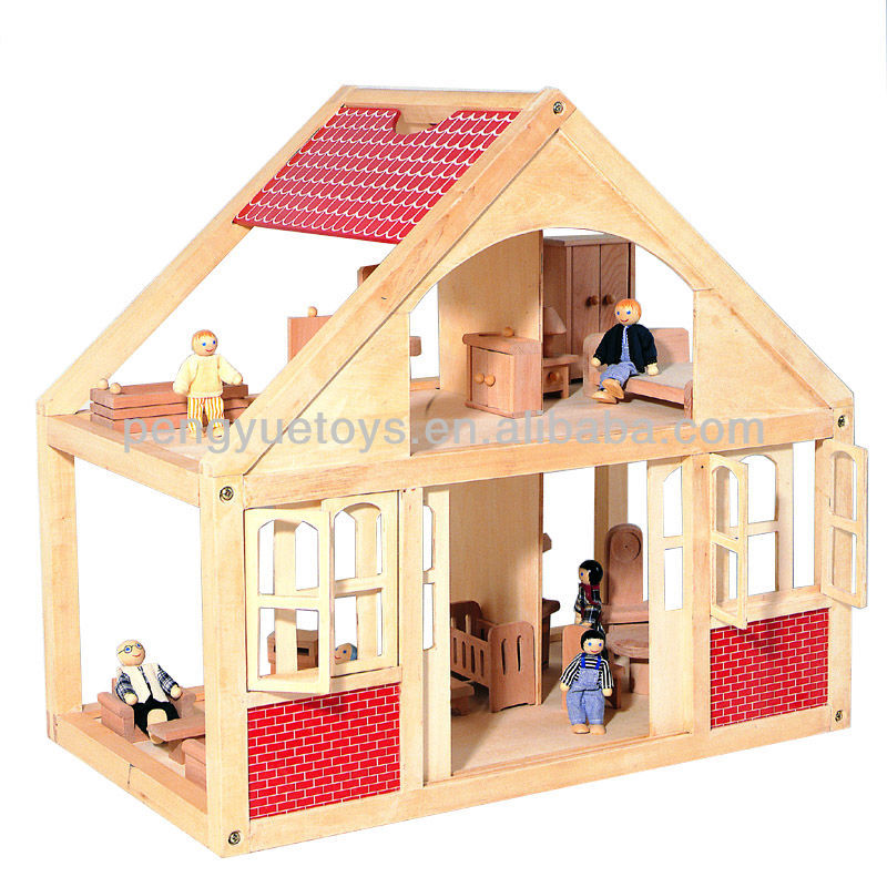 PY2004 Happy Family Wooden Doll House with Dolls & Furniture
