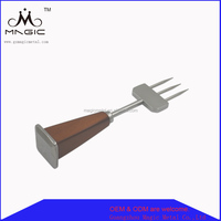 Wooden handle three prong ice pick cocktail stainless steel barware