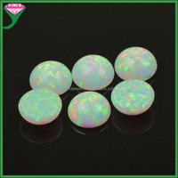 OP17 9mm synthetic round cabochon flat back loose Imitation white fire opal