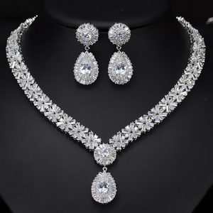 18K Gold Plated Copper Alloy Cubic Zirconia Wedding Accessories Bridal jewelry Sets
