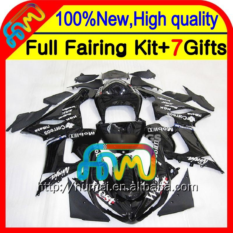 black west Body+100%NEW For KAWASAKI NINJA ZX6R ZX 6R 636 05-06 #921 gloss black ZX636 ZX-6R 05 06 2005 2006 Fairing