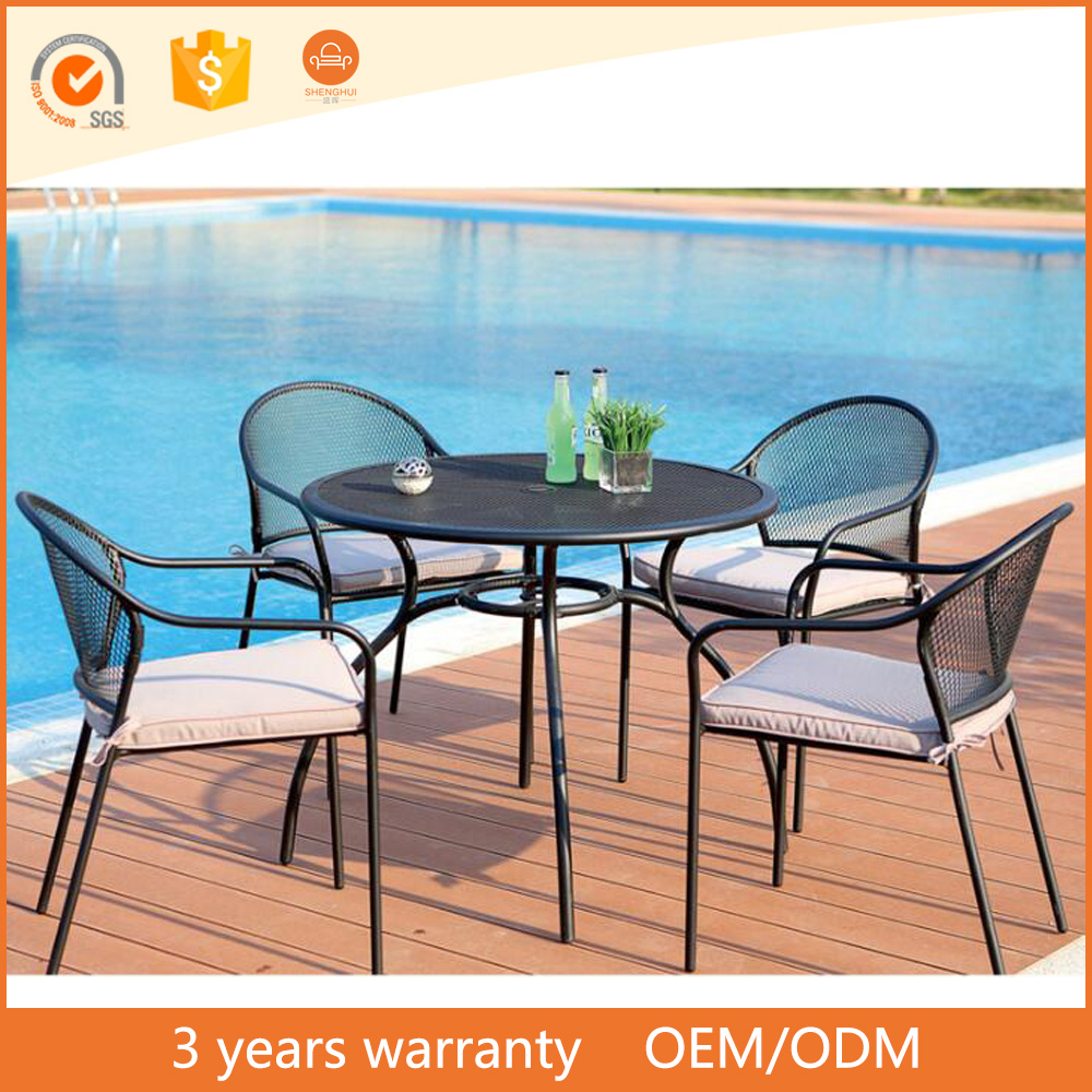 Round cast table outdoor dining table set all weather cast aluminum patio outdoor furniture victory garden