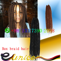long braid 24 inches Braiding Hair Colors African American Synthetic box braids