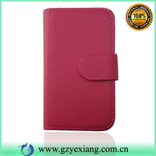 Pink Color Lychee Leather Flip Case For LG Optimus L4 ii Dual E445
