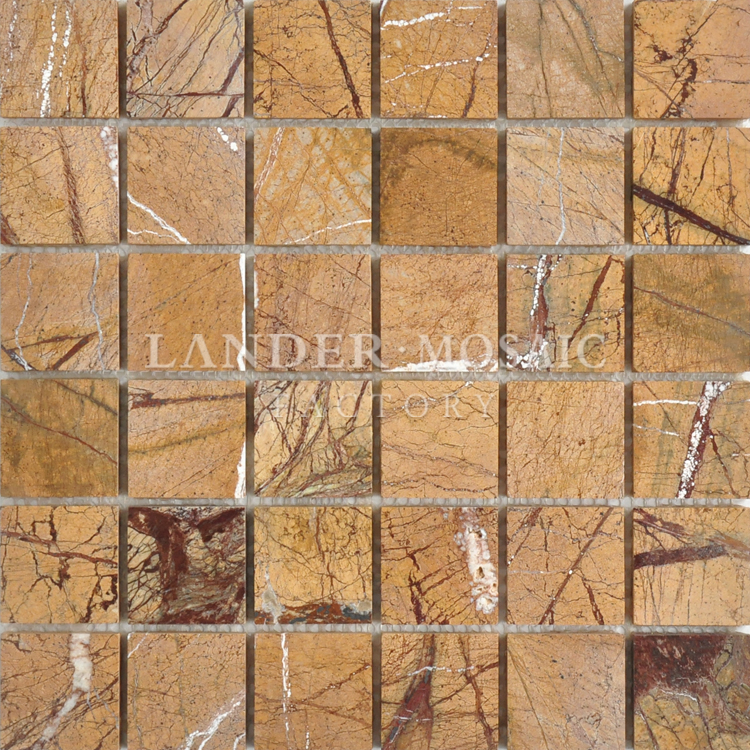 import marble mosaic tile gold color polish finishing exterior wall stone mosaic