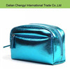 Manufacturer fashionable cute bright blue color pu cosmetic bag
