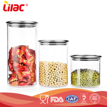 High quality food grade Kitchen Airtight Borosilcate Food Storage glass cookie jar