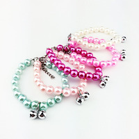 Fashion pet pearl necklace pet accessories love pendant Bell pet jewelry