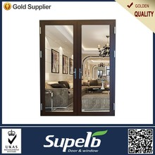 Double tempered glass aluminum casement door 2 way swing door