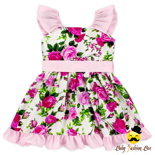 Summer Adorable Flowers Baby Girl Flutter Sleeve Ruffle Girls Dress Names With Pictures