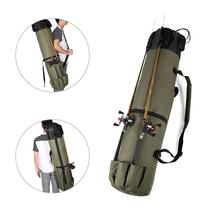 Durable Canvas Fishing Rod & Reel Case Carrier Holder Tackle Storage Organizer Bag Travel Carry Case A Gift for Family Friends