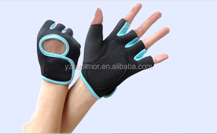 Neoprene material sports weight lifting half finger custom gym gloves