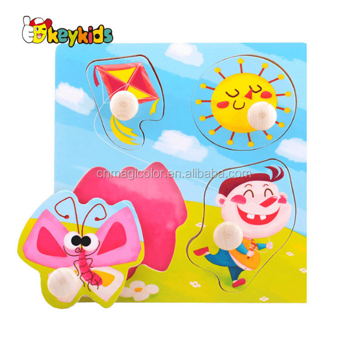 Wholesale brain teaser toy cartoon kids wooden peg puzzle with best price W14M139