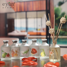 Luxury Frosted Glass Bottle 50ml Lavender Fragrance Aroma Reed Diffuser Wedding Favor / Reed Diffuser with Rattan Sticks