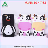 2016 new design fashion animal cut cow penguin soft silicon mobile phone case for iphone 5G/5S 6G 4.7'' 5.5''