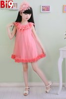 Fashion Pink Wedding Dress Net Shed Child Dress Sleeveless Floral Jumpsuit