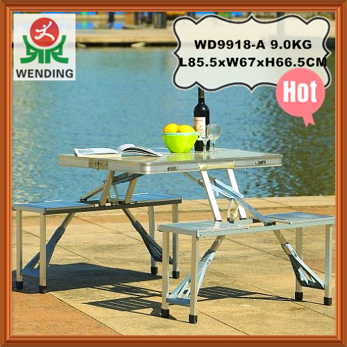 Taizhou Wending aluminum MDF iron plastic outdoor using <strong>folding</strong> chairs and tables set