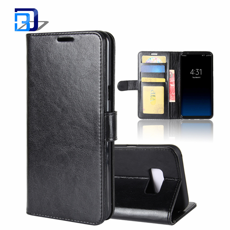 ALBB Premium Classic Leather Folio Case Flip Wallet Cover with 3 Card Slots Phone Case for Samsung Galaxy S8 Plus (2017)