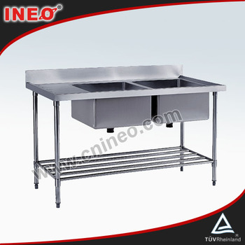 Commercial Restaurant Kitchen Stainless Steel Double Sink(INEO are professional on commercial kitchen project)