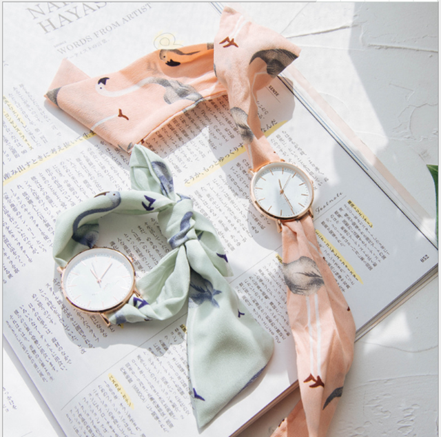 Bright colorful cloth band girls reloj de hombre stylish flamingo pattern silk ribbon watch rose gold slim case hand clock