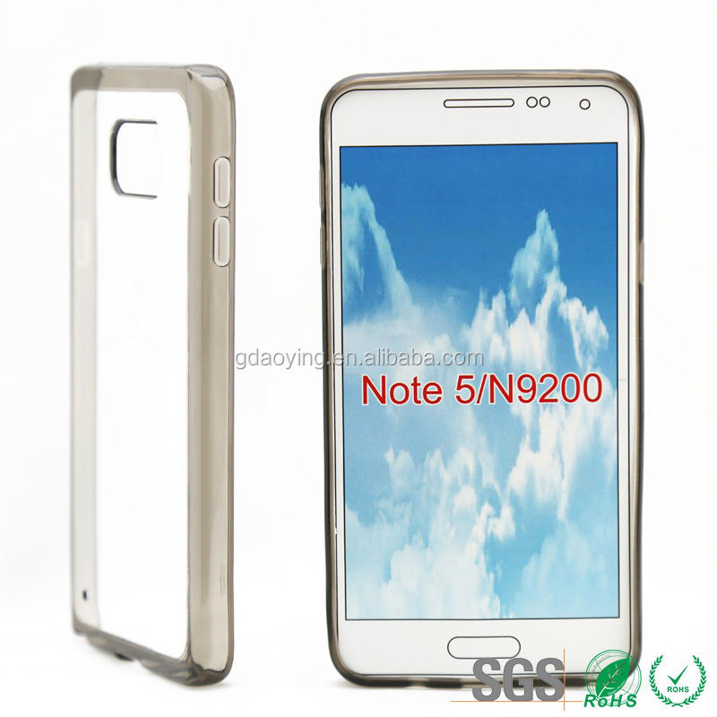 transparent phone back cover for samsung NOTE 5 N9200 factory price
