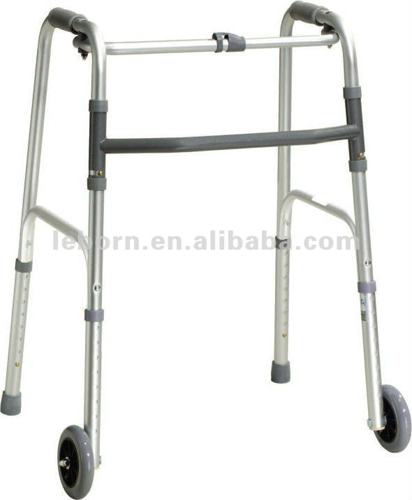"One button rollator walker with 5"" wheels for elderly"