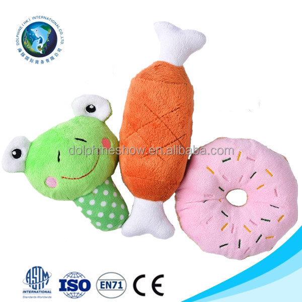 3 Pack Cheap plush food squeaky pet dog toy Wholesale LOW MOQ soft stuffed plush dog toys free samples