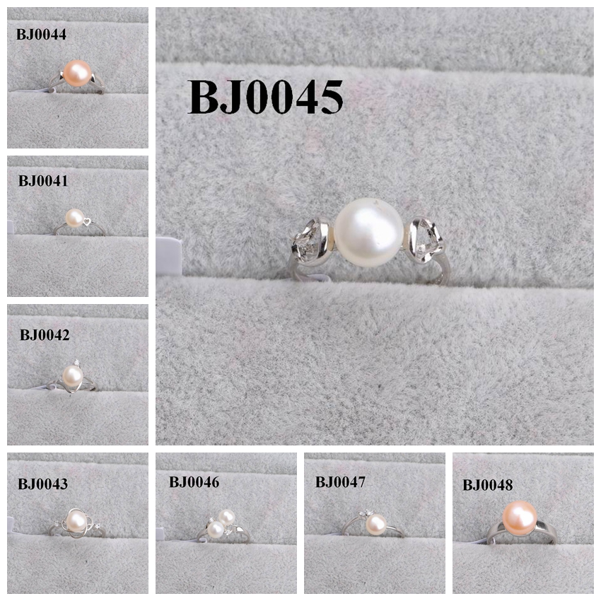 2017 newest wedding jewelry design silver pearl ring for women