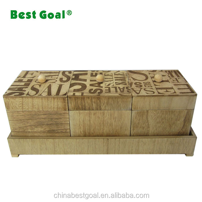Unique painted storage wooden box wooden crate with cover set of 3