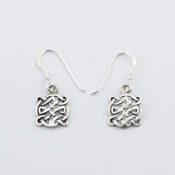 Loosely Braided Celtic Earrings 925 Silver Danglers