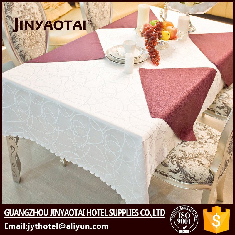 lace pvc table cover with golden lycra spandex table cover